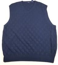 IZOD Mens Size  XXL Textured/Checkered  Navy Blue Pull Over Vest V-Neck EUC - $13.09