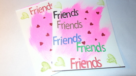 (2)+1 free gift Heartfelt square words with pink pastel color background... - $6.00