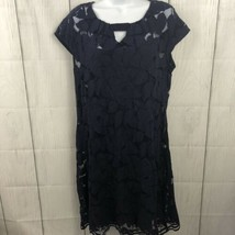 Just Taylor Size 12 lace overlay navy dress - $24.75