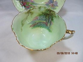Aynsley Tea Cup & Saucer Set Lime Green with Scenery embossed design detail image 2