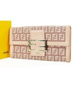 Authentic FENDI Pink Zucca Canvas Long Wallet Zippered Coin Purse #37131 - $279.00