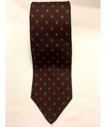 Vintage Christian Dior Silk Tie Brown Blue Squares Necktie 57 x 3.25 - $15.29
