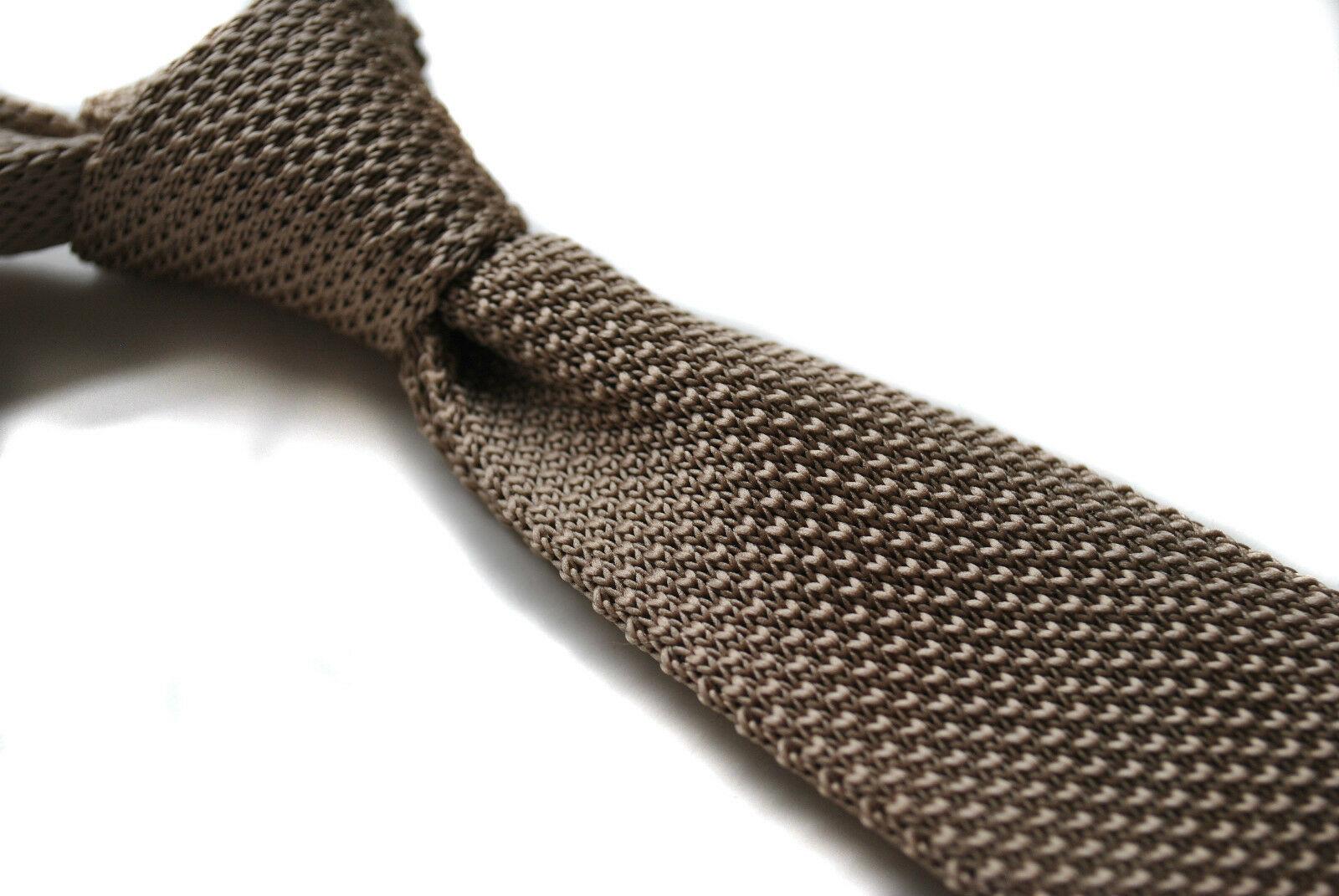 Frederick Thomas Knitted Silk Mens Tie - Beige / Tan - Plain Wedding Neck Tie