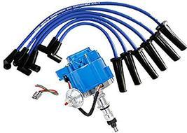 A-Team Performance HEI Distributor Blue Cap, Blue Silicone Spark Plug Wires Set