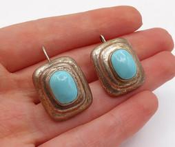 MEXICO 925 Silver - Vintage Turquoise Graduated Design Dangle Earrings - E7967 - $45.07