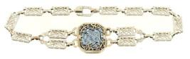 Antique Deco 14k White Gold Filigree Intaglio Soldier Bracelet Engraved ... - $584.99