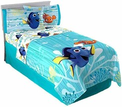 Disney  Finding Dory Nemo Twin Sheet Flat Fitted Pillowcase 3 Piece Sheets Set - $59.35