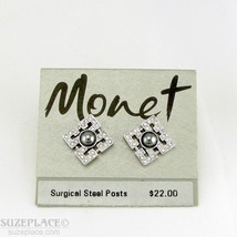 Monet Crystal Earrings Surgical Steel Post Nwt $22 Retail - $14.95