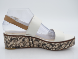 Cole Haan Womens 8B White D43926 Leather Snake Print Wedge Slingback San... - $32.99