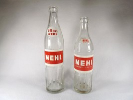 2 VINTAGE NEHI BOTTLES 16 OUNCE 12 OUNCE VGC! RED LABEL - $11.96