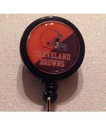 Nfl Cleveland Browns Badge Reel Id Holder Black Orange Alligator Clip Ha... - $8.99