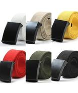 Unisex Military Casual Solid Color Plain Webbing Canvas Waist Belt Waist... - $8.15+