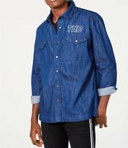 New Mens Tommy Hilfiger Denim Graphic Logo J EAN Blue Oversized Shirt Jacket M - $31.67