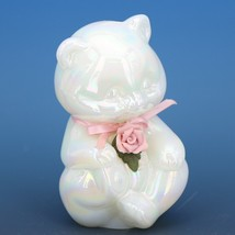 Fenton Art Glass Pearly Sentiments Teddy Bear Figurine image 1