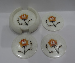 Marble Hakik Six Pieces Coaster Set Round Pietra Dura Floral Mosaic Decor Gifts - $90.78