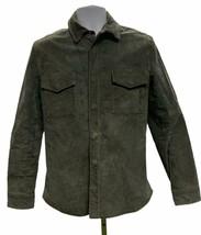 Zara Men Suede Snap Front Jacket Coat Size Large Olive - $91.99