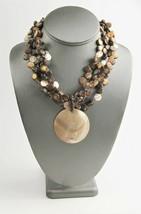 """18"""" ESTATE VINTAGE Jewelry BOHO RESORT WEAR MOP & COCONUT SHELL BEAD NEC... - $10.00"""