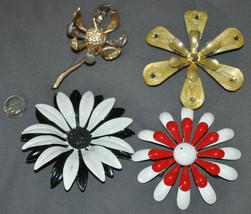 Vintage 1960s Enamel Metal Flower Brooch Pin LARGE BLOOMS 60s hippie boho - $26.99