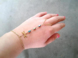 Dragonfly Hand Chain Rainbow Gem Slave Bracelet Boho Slave Bracelet Rare... - $68.00