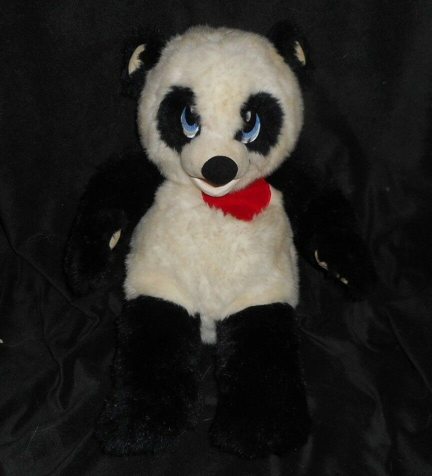 "Primary image for 18"" VINTAGE BLACK & WHITE PANDA TEDDY BEAR RED HEART STUFFED ANIMAL PLUSH TOY"