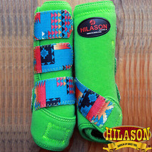 Medium Hilason Aztec Lime Horse Front Leg Ultimate Sports Boots Pair U-50-M - $49.95