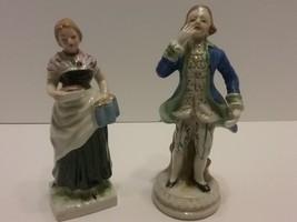 Vintage Victorian Lady & Man Gold Trimmed Porcelain Figurines From Japan - $18.69