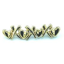 VTG Monet Hugs & Kisses Goldtone Brooch / Pin X's Kisses & O's Heart Hug... - $19.95