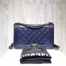 AUTHENTIC CHANEL DARK BLUE QUILTED LAMBSKIN NEW MEDIUM BOY FLAP BAG SILVERTONE H