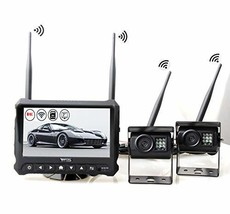 RED WOLF Wireless Backup Camera Rear View System Kit Built-in DVR Dash Cam Front