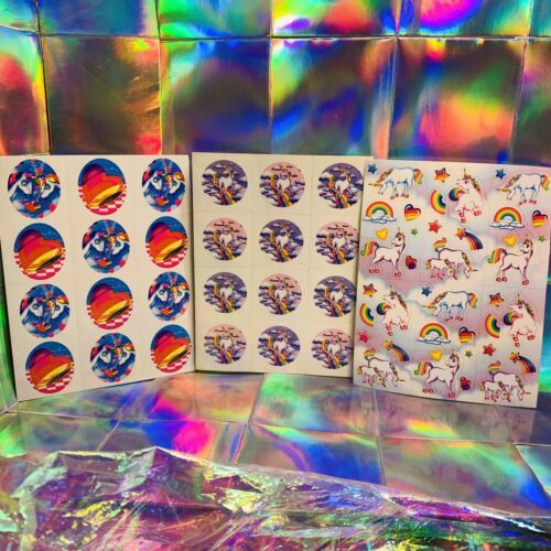 3 Complete Lisa Frank Sticker Sheets Markie The Unicorn S105 S252 S113 RARE LOT