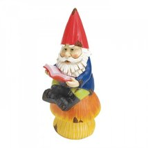 Gnome  Sitting on Mushroom Reading Book Solar Statue Yard garden Patio - $21.77