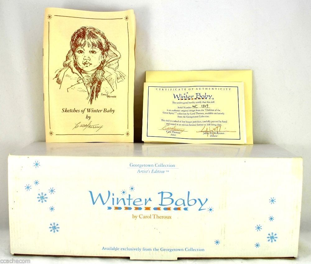 Winter Baby Porcelain Doll Signed by Carol Theroux Artist's Limited Edition NIB