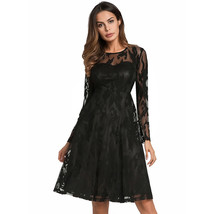 AOVEI Black Lace Long Sleeve Vintage A Line Night Out Prom Party Pleated Dress - $29.99