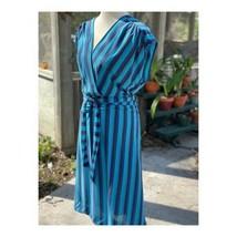 Vintage 90s Dress Striped Batwing Partial Wrap Sz 44 Summer Beach Blue P... - $38.61