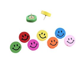 30Pieces Lovely Smile Face Wooden Push Pins Decorative Board Tacks Utility Icons
