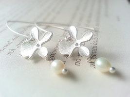 Matte Silver Orchid White Freshwater Pearl Earrings - $35.00