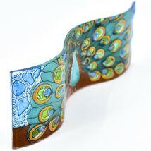 Fused Art Glass Peacock Showy Plume Wavy Decor Sun Catcher Handmade Ecuador image 5