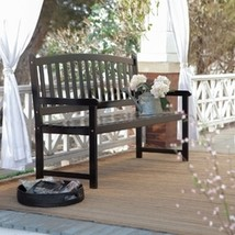 5-Ft Outdoor Curved Back Garden Bench with Armrest in Black Wood Finish - $280.00