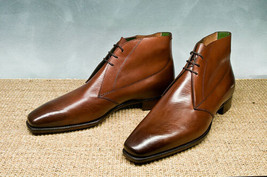 Handmade Men's Brown Leather High Ankle Chukka Boots image 4
