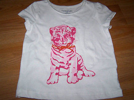 Size 24 Months Pink Tiger Cub Kitty Cat T Shirt Top White Faded Glory New - $9.00