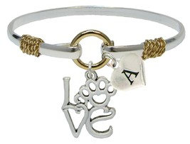 Custom Love Paw Animal Lover Silver Gold Bracelet Jewelry Choose Initial Family - $14.87