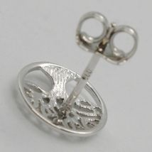 18K WHITE  GOLD ROUND BUTTON EARRINGS WITH BEAUTIFUL TREE OF LIFE, MADE IN ITALY image 3