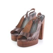 Jeffrey Campbell Michlene Brown Leather Platform Slingback Sandals Shoe ... - £47.54 GBP