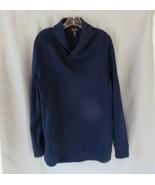 Tasso Elba men's sweater shirt  Large  navy blue shawl collar long sleeves - $13.67