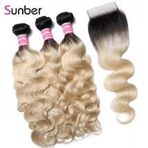 "Sunber Hair T1B/613 Malaysia Hair Body Wave Bundles with Closure 10"""" 20... - $449.20"