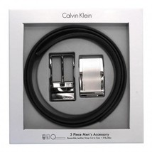 Calvin Klein CK Men's Reversible Leather Buckle Belt 3 Piece Gift Box Set 74313