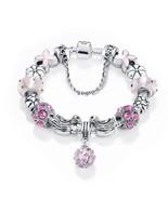Women Stunning Pink Rhinestone Luxurius Murano Crystal Stone Charm Brace... - $12.99