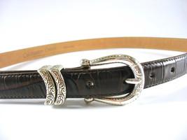 Coldwater Creek Leather Belt, Western, Dark Brown Croc, Silver Buckle an... - $30.00