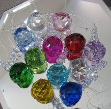 Beautiful Crystal Prism Ornament Set, a Dozen 30mm Ball Spheres, Beaded and Read