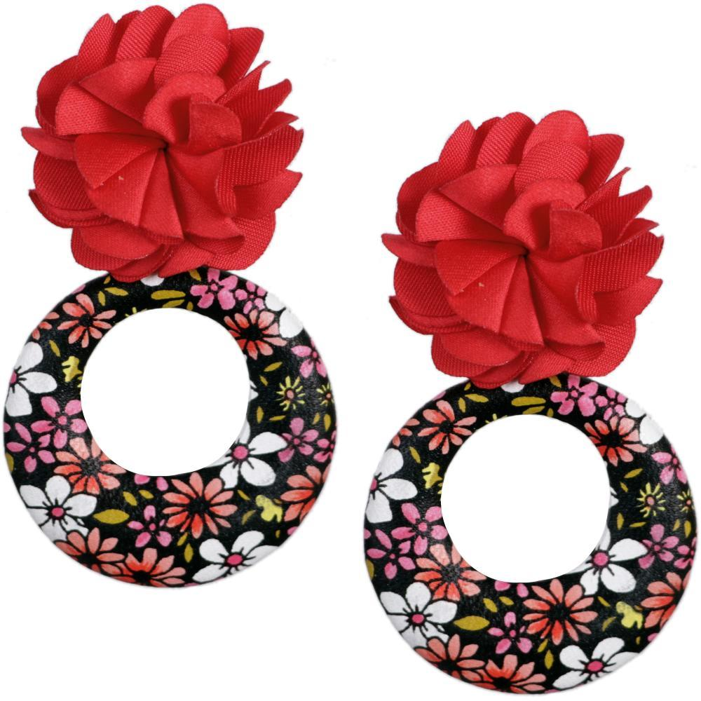 Primary image for Red Floral Fabric Drop Hoop Earrings